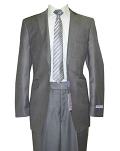 Button Peak Lapel Grey Sharkskin Wool and Silk Blend Flat Front