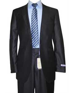 Button Peak Lapel Dark Navy Sharkskin Wool & Silk Blend Flat