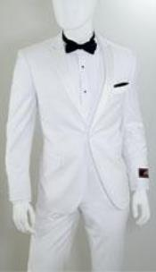 Fit Suit 1 Button Peak Lapel White Suits Fashion Tuxedo For