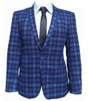 Mens 1 Button Notch Lapel Vent Slim Fit Checked Window Pane Plaid Blue Blazer Online Discount Fashion