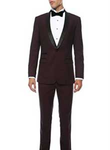 Mens Slim Fit 1 Button Shawl Collar Dinner Jacket Blazer Sport Coat Black Lapeled Matching Pants Burgundy