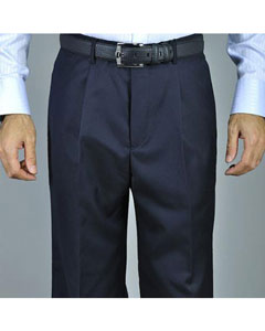 Mens Navy Blue Single Pleat Pants unhemmed unfinished bottom
