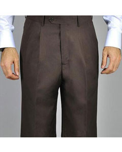 Brown Single Pleat Pants unhemmed unfinished bottom
