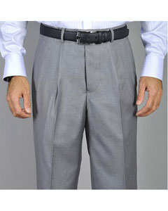 Mens Light Grey Single Pleat Pants unhemmed unfinished bottom