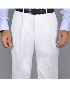 White Single Pleat Pants unhemmed unfinished bottom