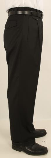 Wide Leg Single Pleated Pants Solid Black