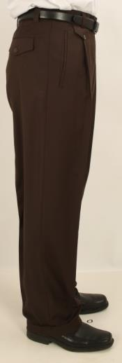 Wide Leg Single Pleated Pants Solid Dark Brown