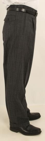 Wide Leg Single Pleated Pants Charcoal W/Black Windowpane