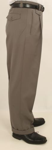 Wide Leg Single Pleated Pants Greenish Gray
