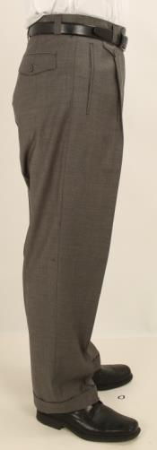 Wide Leg Single Pleated Pants Solid Gray