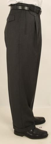 Wide Leg Single Pleated Pants Solid Charcoal Gray