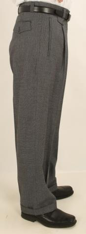 Wide Leg Single Pleated Pants Gray Sharkskin
