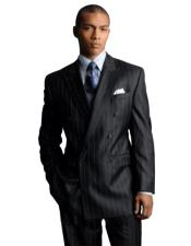 Signature Platinum Stays Cool Discounted Sale Dark Charcoal Gray Pinstripe wool