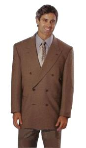 Mens Dark CoCo Brown Double Breasted Suits Super 120s wool feel poly