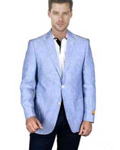 Light Sky Baby Blue Linen Blazer Sport Coat Jacket