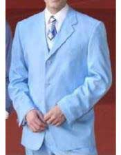 Milano Moda Mens Sky Baby Blue 3 Button Polyester  Milano Suits