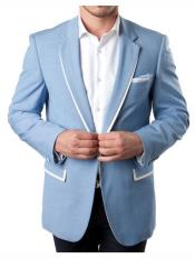 1 Button Sky Blue Summer Blazer With White Trim Accents Tuxedo Dinner Jacket