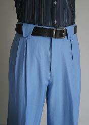 Wool Wide Leg Slacks Mens Light Blue ~ Sky Blue Super 150s Dress Pants unhemmed unfinished bottom