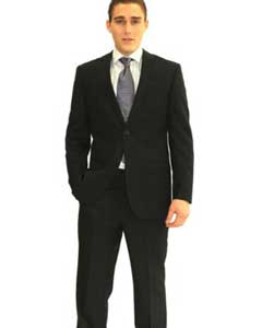 Mens Black Tonal Pattern Notch Two-button Closure Suit