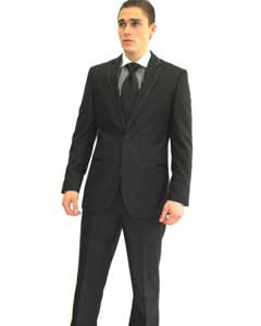 Mens Full Sleeves Provided with 3 Cufflinks Tuxedo Suit Black