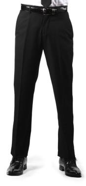 Premium Slim Fit Flat Front Dress Pants Black