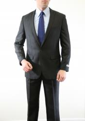 Black  Two Piece Single Button Peak Lapel Wool Fabric Slim Fit Suit