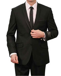 Two Piece Slim Fit Suit - Satin Trimmed Lapel Black
