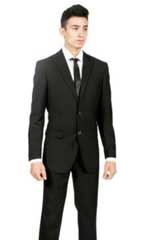Custom Slim Fit Black 2-piece Two buttons Peak Lapel Cheap Priced Business Suits Clearance Sale No Pleated