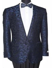 Tazio Slim Fit Notch Lapel Blazer Sport Jacket Blue