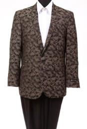 Tazio Abstract Design Slim Fit Fashion Jacket Brown camouflage blazer