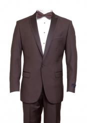 Brown 1 Cover Button Front Closure Slim Fit Suit Peak Lapel Tuxedo Suit - Wide Lapel Tuxedo