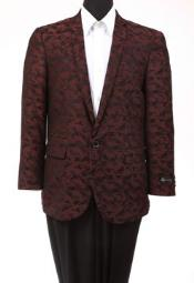 Tazio Abstract Design Slim Fit Fashion Jacket Burgundy ~ Wine ~