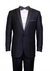 Charcoal 1 Cover Button Front Closure Suit Peak Lapel Tuxedo Suit