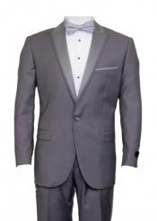Mid Gray 1 Cover Button Front Closure Slim Fit Suit Peak Lapel Tuxedo Suit - Wide Lapel