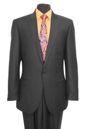 Slim Fit Suit Mens 1 One Button Suit Flat Front Pants –