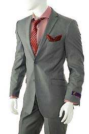Solid Gray Slim Fit Suit Vent Online Discount Fashion Sale Cheap