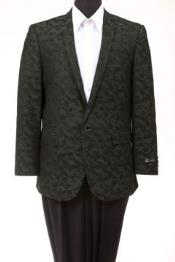 Tazio Abstract Design Slim Fit Fashion Jacket Green camouflage blazer