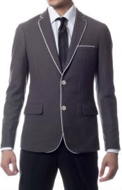 Slim Fit Traveler Blazer Jacket Grey with White Piping