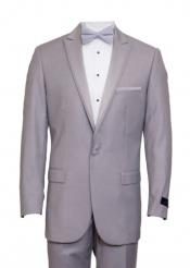 Light Gray 1 Cover Button Front Closure Slim Fit Suit Peak Lapel Tuxedo Suit - Wide Lapel