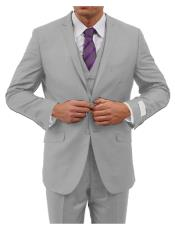 Slim Fit Suit Mens Mid Grey two button closure Mens Slim Fit
