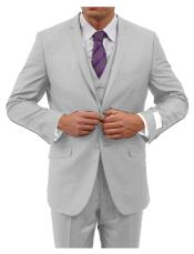 Light Grey Three Piece Notched Lapel Slim Fit Fully Lined Suit