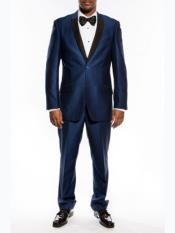 Slim Fit Tuxedo Two Button Shawl Trim Lapel Navy Blue