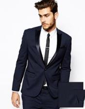 Slim Fit Tuxedo Jacket Navy
