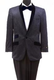 Mens Tazio Retro Cross Weave Slim Fit Dinner Jacket Navy Tuxedo Jacket / Blazer Mens / Tux