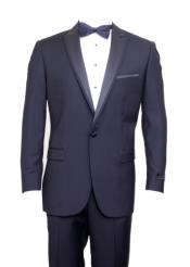 Navy Flap Pocket Top Satin Trim Slim Fit Suit Peak Lapel Tuxedo Suit - Wide Lapel Tuxedo