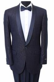 Slim Fit Sport Coat - Fancy Pattern Satin Trim Navy