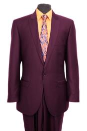 Mens Plum 1 Slim Fit Side Vent Button suit