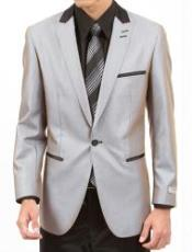 Mens Two Piece Slim Fit Suit Silver