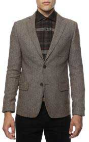 Slim Fit Tweed houndstooth checkered patterned Blazer Jacket Sport coat Brown Herringbone Tweed