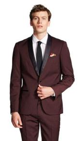 Slim Fit With Front Button Shawl Collar Jacket Black and Burgundy ~ Wine ~ Maroon Suit Fashion